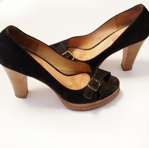 Michael Kors Suade Peep Toe Sracked Heel Platforms
